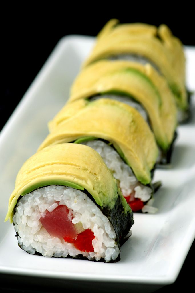 Tuna and Roasted Red Pepper Sushi Roll with Avocado