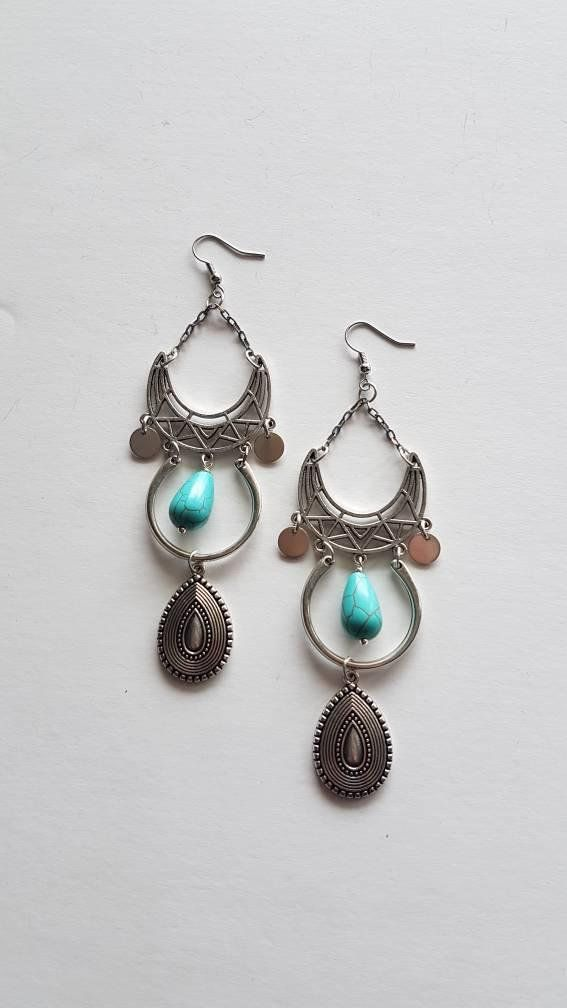 Check out this item in my Etsy shop https://www.etsy.com/listing/607606117/handmade-earrings-with-howlite-long