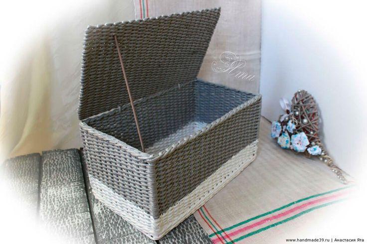 Короб с крышкой из бумажных трубочек – мастер-класс. Плетение из бумажной лозы…