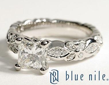Flora Vida Princess Cut Diamond Engagement Ring in Platinum #BlueNile