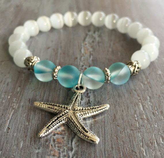Starfish Bracelet, Boho Jewelry, Gemstone Beaded Bracelet, Bohemian Bracelet, Boho Chic, Beach Jewelry