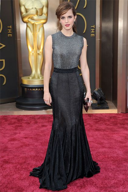 Emma Watson in Vera Wang - her beauty is completely hidden here, I just can't find her under these colors.