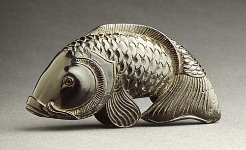 Kiyoshi (Japan) Carp, 19th century Netsuke, Ebony