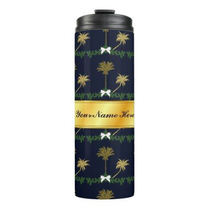 Blue and Gold Tropical Christmas with Palm Trees Thermal Tumbler - blue gifts style giftidea diy cyo