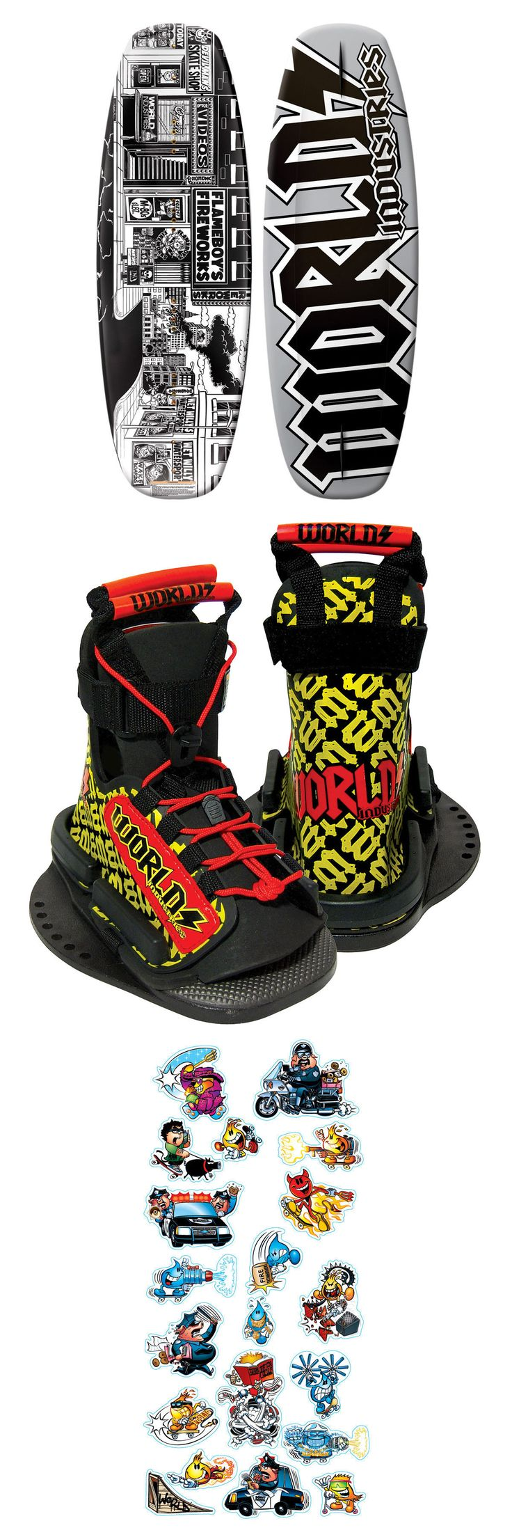 Wakeboard Bindings 47362: World Industries Stick-O-Rama Wakeboard - Complete W Youth Bindings And Stickers -> BUY IT NOW ONLY: $89.99 on eBay!