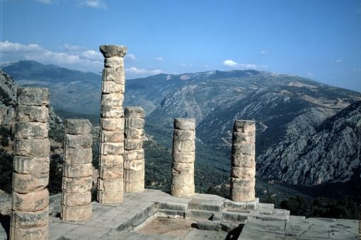 Temple at Delphi, the Oracle; http://conorneill.com/2012/12/01/review-coursera-greek-roman-mythology/