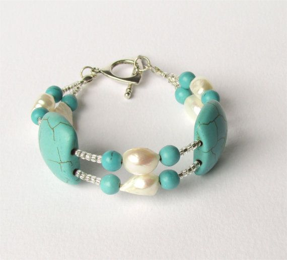 Pearl turquoise Bracelet Toggle clasp.Perfect by DelabudCreations