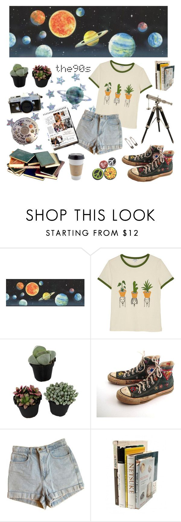 """young star lover ✩☆✩"" by lilyjey ❤ liked on Polyvore featuring York Wallcoverings, Monki, Converse, American Apparel, Garance Doré, IMAX Corporation and vintage"