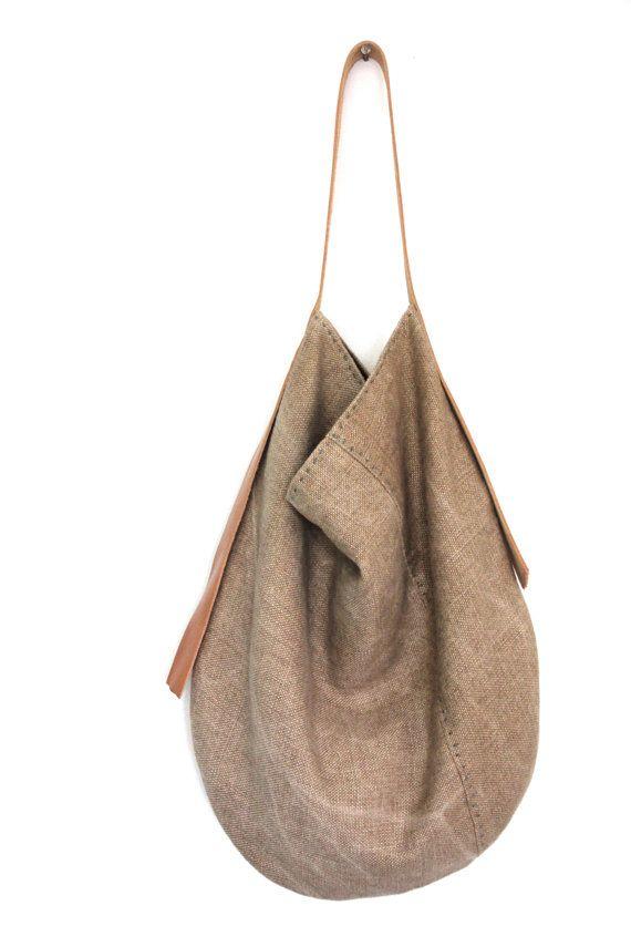 Handmade Belgian Linen Slouch Bag Sun Kissed por rizomdesigns