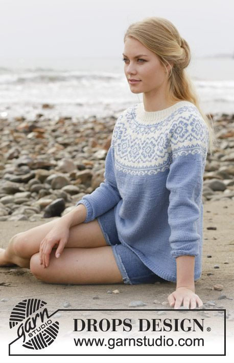 Knitted jumper with round yoke, multi-coloured Norwegian pattern and A-shape. Size: S - XXXL Piece is knitted in DROPS Merino Extra Fine.