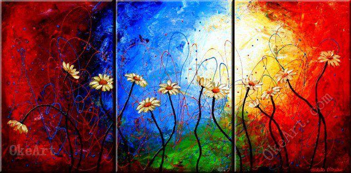 The Daisy Dance oil painting on canvas high acrylic 3 panel wall art