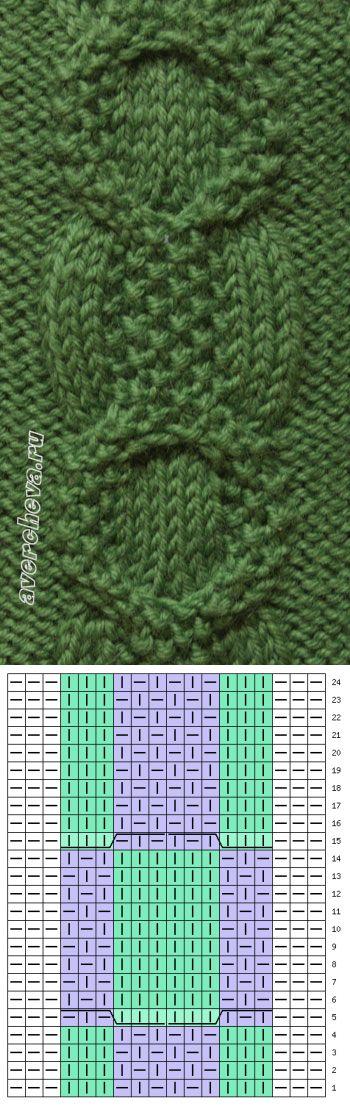 узор 374 коса 12 петель   каталог вязаных спицами узоров