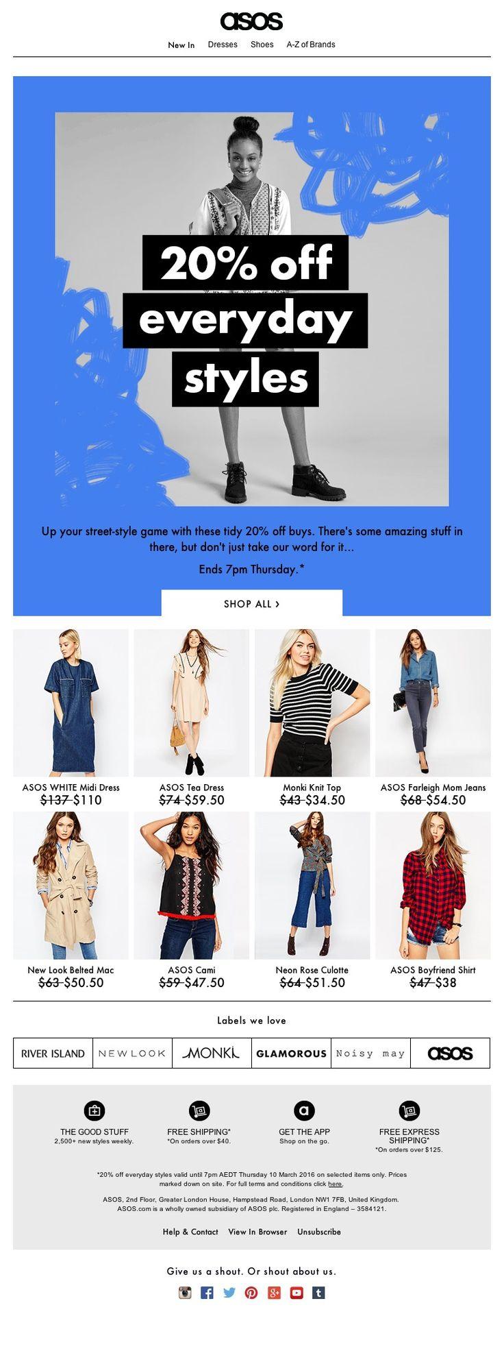 ASOS - 20% off everyday styles