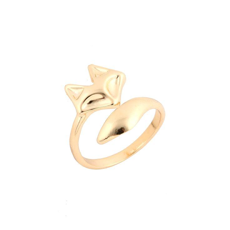2016 Nieuwe Collectie Mode Vergulde Verstelbare Leuke Dier Vos Ring Eenvoudige Trouwringen voor Vrouwen Party Gift
