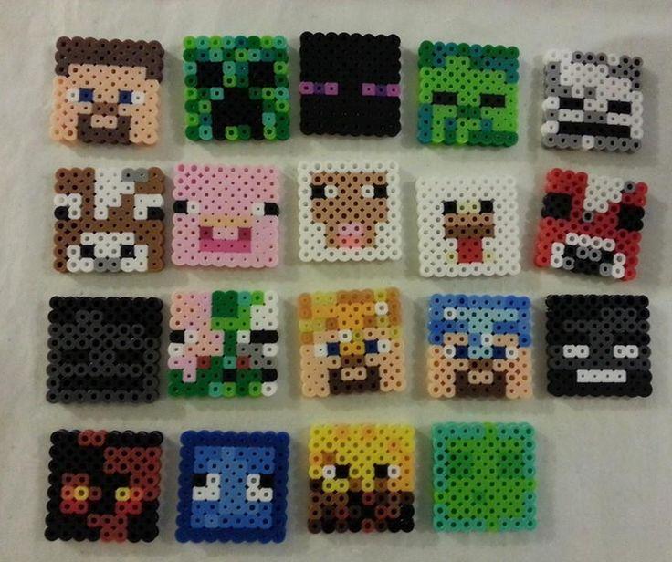 minecraft perler bead skeleton head   Minecraft Character Faces
