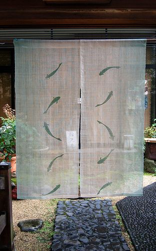 Noren curtain - it can be used in the walls for decoration as well. Beautiful and peaceful image.