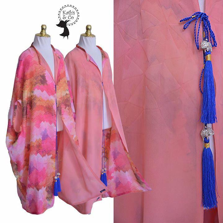 Reversible Butter Chiffon kaftan robe