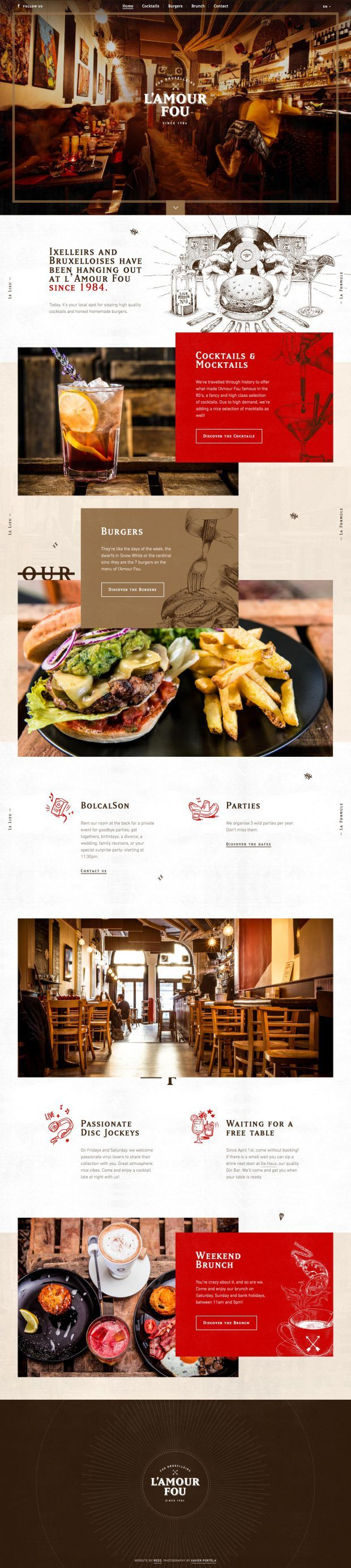 LAmour Fou - Burgers and Cocktails in Brussels www.niceoneilike.com #Inspiration, #Scrolling #Site, #Parallax, #Restaurant, #Website, #Burgers, #Cocktails