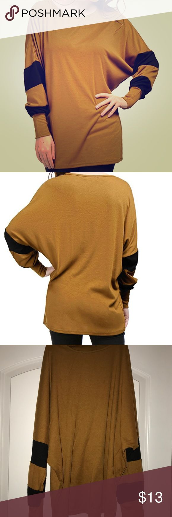 Tunic Top Oversize Fitting - Fall Shirt with Scoop Neck  Brown/Tan with Black Block patches on sleeve  Sleeve Style: Batwing Sleeve  95% Polyester, 5% Spandex Tops Tunics
