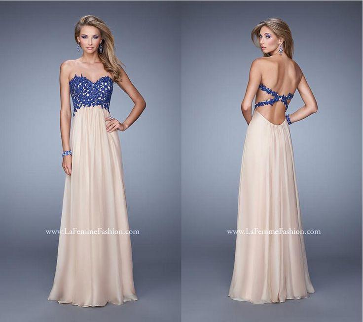 La Femme 20617 ~ chiffon prom dress ~ contrasting beaded lace top ~ open back ~ jeweled lace ~ x straps ~ long prom dress ~