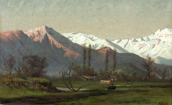 """Pedro Lira, """"Paisaje con cordillera y vacunos"""". Pintura chilena."""