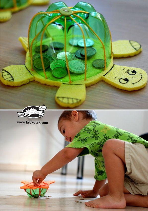 Wie man DIY Turtle Toys aus recycelten Plastikflaschen herstellt