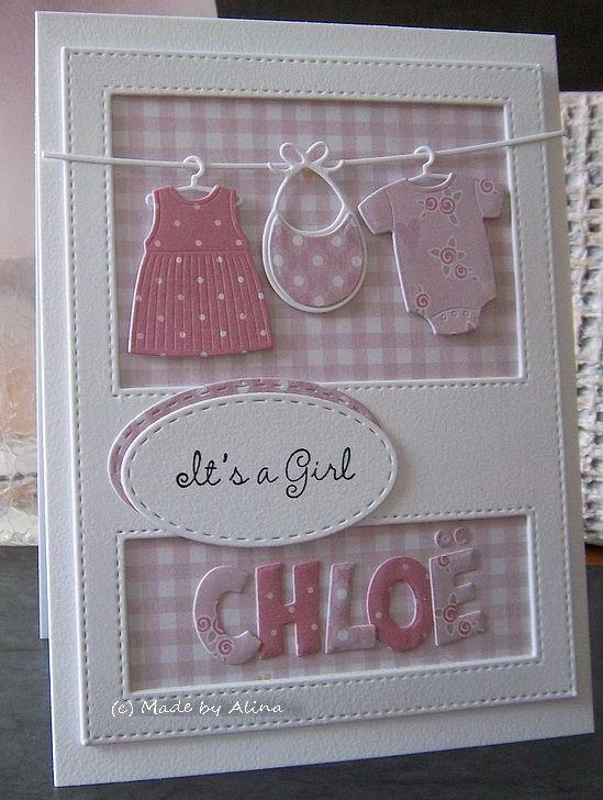 Dit kaartje heb ik voor Mary  gemaakt, die weer oma is geworden en wat een leuke naam heeft haar kleindochtertje! Met Die-namics, alfabet ...