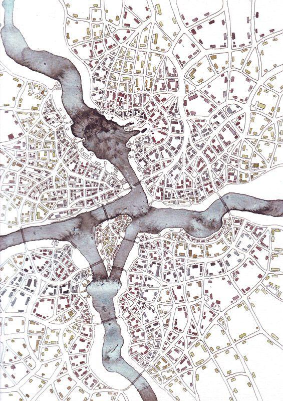 "Emily Garfield. ""Infotrails (Cityspace #213)"". Ink wash, pen, gouache. 9"" x 12""."