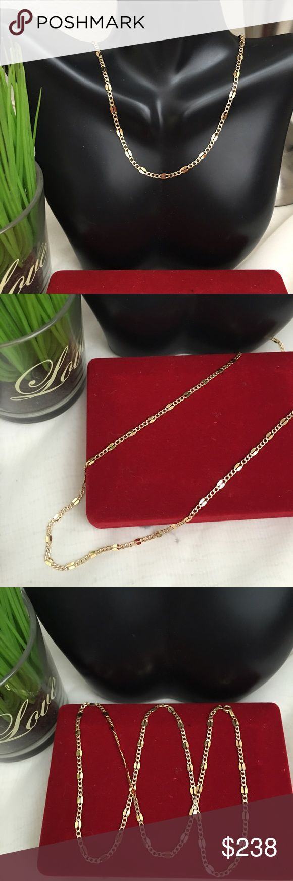 18K Real Solid Gold Chain for Men Made of 100% 18K Real Gold. * 750 Stamped * 22 inches long *3.1grams #RealGold * Not Plated! * Not filled! * If you have any questions please do not hesitate to ask before buying to avoid return. * If you have doubt please don't buy! * all Jewelries are 100% Tested! Jewelry Necklaces