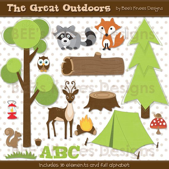 Camping Great Outdoors Woodland Clip Art Digital Scrapbook ...