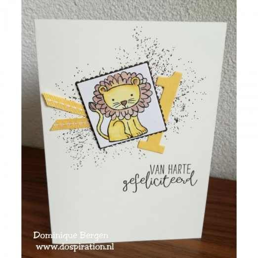 Stampin'Up! Bloghop 100%NL |, a little wild, Mooiste momenten, nederlandse stempelset, baby kaart, kinderverjaardag, beer en leeuw, bear and lion, watercolor