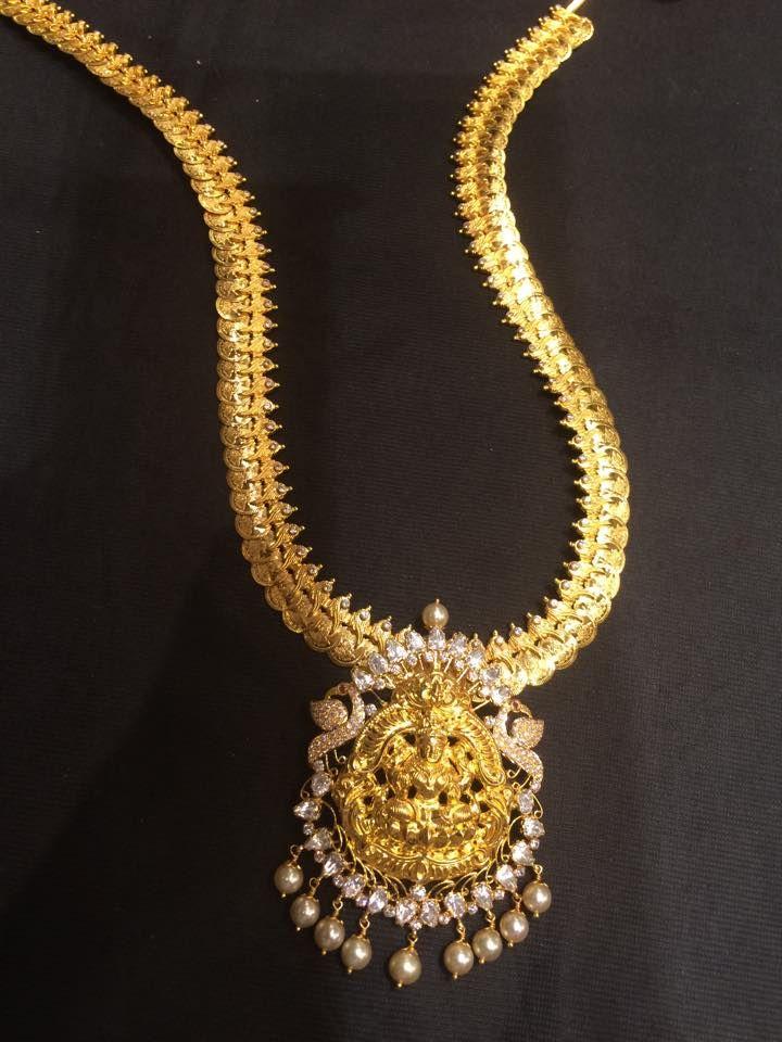 kasu mala with lakshmi pendant