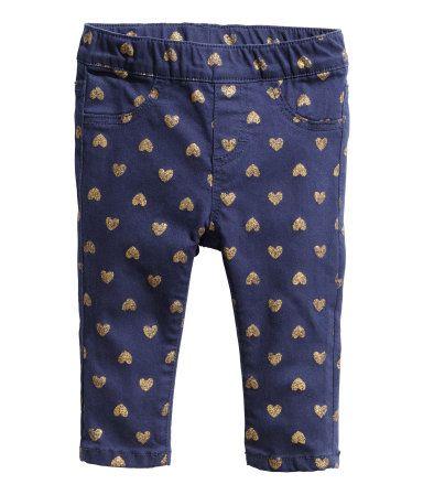H&M Gold Heart Patterned Treggings in dark blue