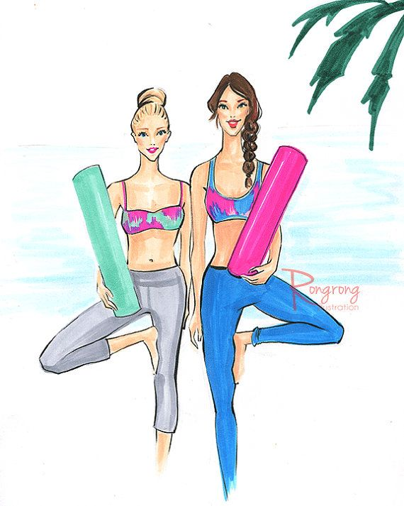 Yogi illustration Yoga besties art Yoga by RongrongIllustration