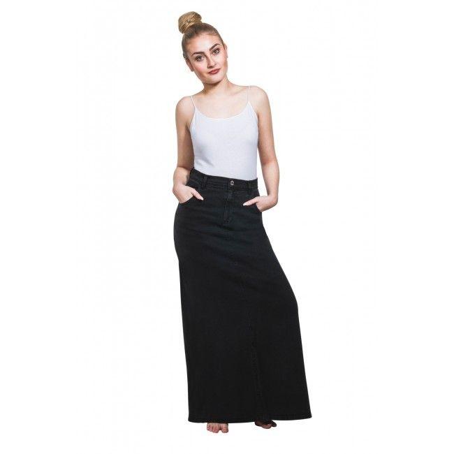 USKEES FEARNE Long Denim Skirt - Black Maxi Skirt.