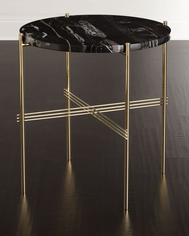 "Side table with brass-finished stainless steel base. Marble top. 24""Dia. x 24""T. Imported. Boxed weight, approximately 40 lbs."