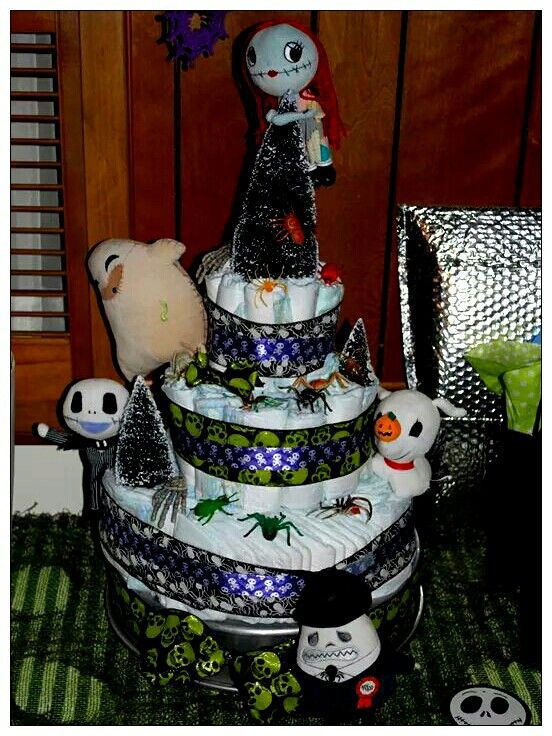 Nightmare Before Christmas DIY Diaper Cake Made For Me By My Sister! She  Did A