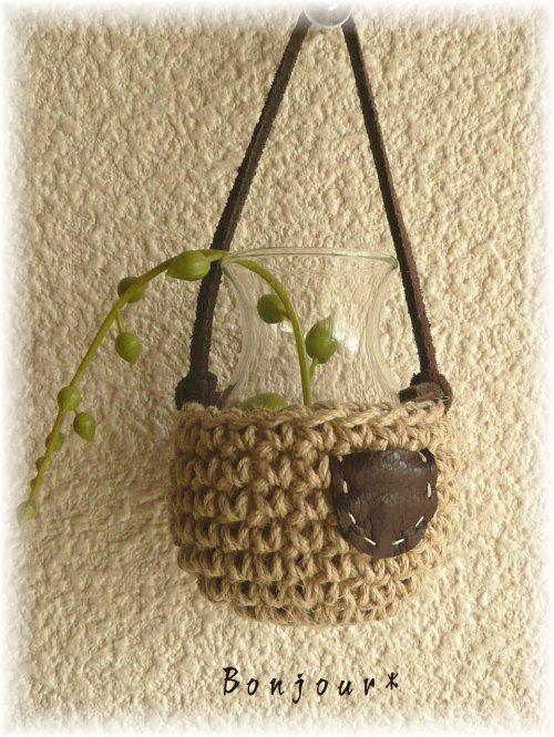 Mini Twine hanging basket #crochet