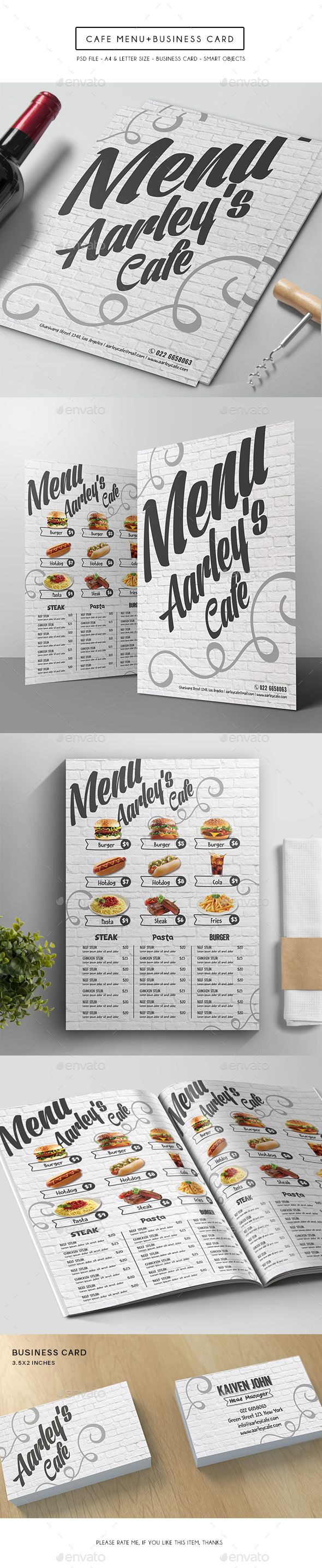 Cafe Menu + Business Card - Food Menus Print Templates. DOWNLOAD http://graphicriver.net/item/cafe-menu-business-card/15086419?ref=sinzo