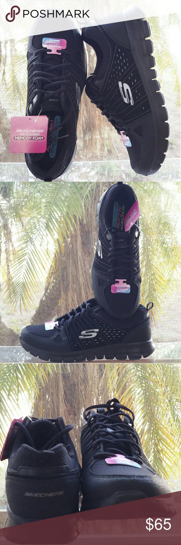 Skechers Sneakers Skechers wide fit light and airy sneakers. For those of us who are on our feet all day working ourselves to death these sneakers are the answer to our prayers! And abundance of padding tread breathable material comfortably fitting sneaks. Loop @ rear for easy slide on aerodynamicly engineered for our busy tired feet & hey they are all black so we can wear them to and from work as well as all day & STILL meet the dress code requirements. I call these babies a win/win! 12L 4…