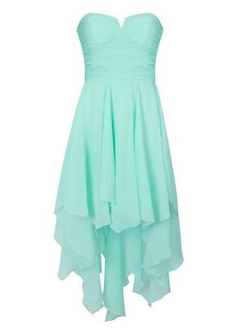 ROUCHED BANDEAU DIPPED HEM DRESS. I'm not that much of a dress person, but this dress is so beautiful!
