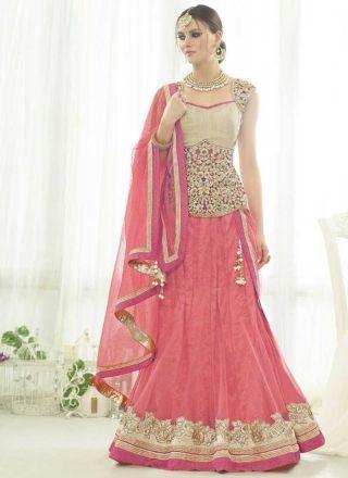 Pink Embroidery Thread work Stone Work Net A-Line Party Wear Lehenga Choli http://www.angelnx.com/Lehenga-Choli
