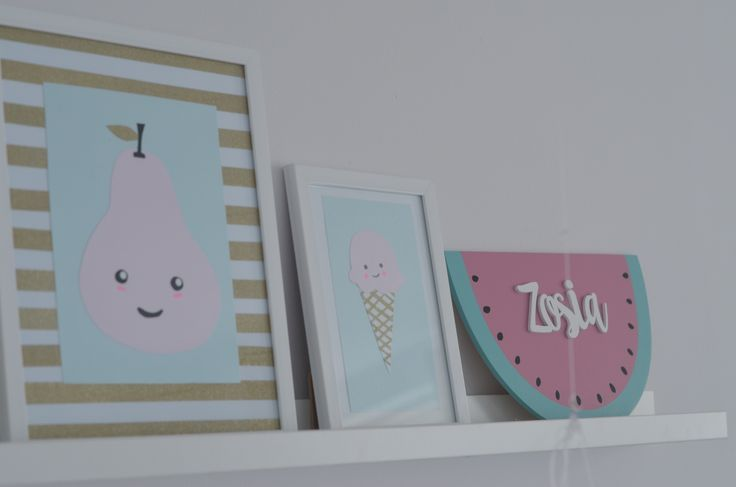 Kids room decorations Nursery room decorations Dekoracje do pokoju dziecka Obrazki i arbuz handmade