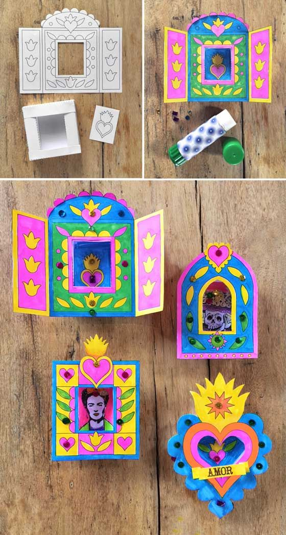 Make Mexican nichos: Paper craft activity idea! #nicho https://happythought.co.uk/craft/day-of-the-dead-nicho-activity