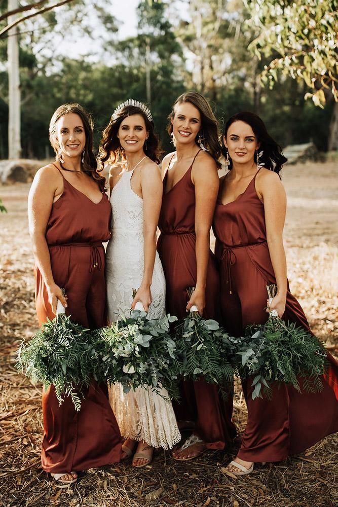 21 Ideas For Rustic Bridesmaid Dresses   Wedding Dresses Guide   Copper bridesmaid dresses, Rustic bridesmaid dresses, Brown bridesmaid dresses   Wedding Dress