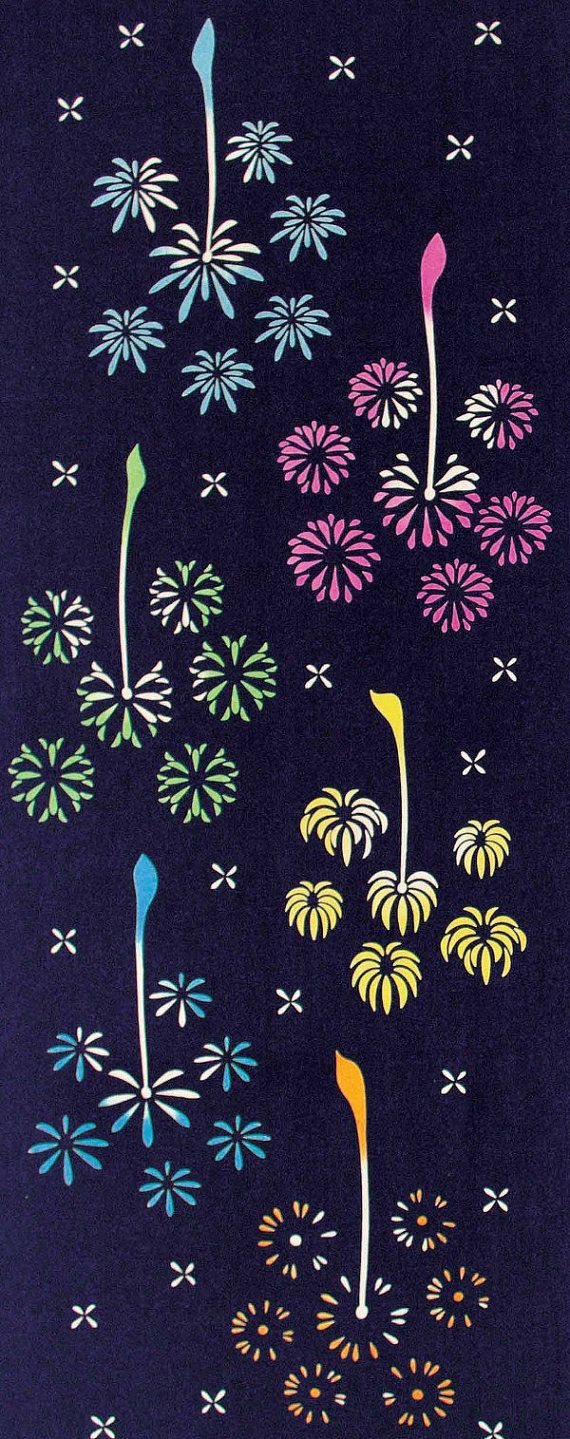 Japanese Tenugui Cotton Fabric, Colorful Fireworks Design, Summer Fabric, Sparkler, Hand Dyed Fabric, Japanese Art Wall , Home Decor, JapanLovelyCrafts
