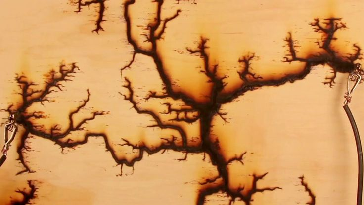 Melanie Hoff - 15,000 Volts.  By sending the electrical current into the wood and speeding it up thousands of times fractal-like patterns work their way across the wood, with sparks flying out and cracks appearing creating a Rorschachian effect for the viewer.