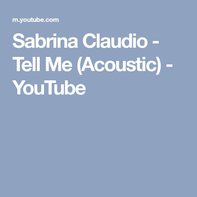 Sabrina Claudio - Tell Me (Acoustic) - YouTube