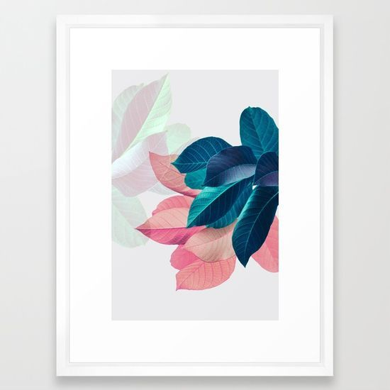 Pink and Blue Leaf Framed Art Print