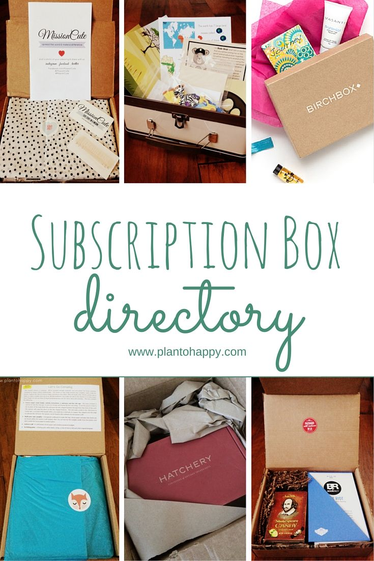 A Subscription Box Directory from my list loving heart to yours. Here you'll find a list of subscriptions for women, men, teens, and kids, which is constantly updated with the latest and greatest.